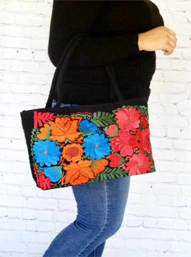Black Mexican Embroidered Bag