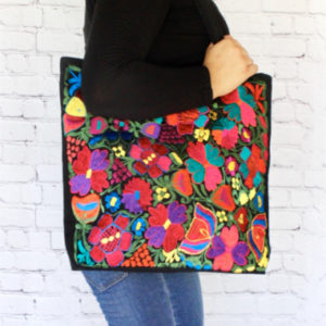 Floral Embroidered Mexican Bag