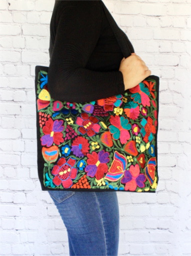 Fl Embroidered Mexican Bag
