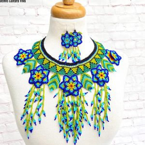 Mexican Colorful Huichol Necklace