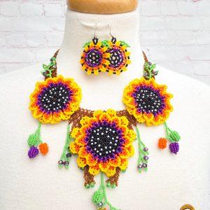 Mexican Huichol Necklace Set