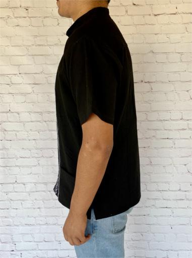 Black Mexican Guayabera Shirt