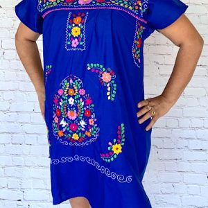 Blue Mexican Peasant Dress