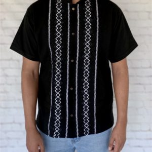 Black Mexican Guayabera Shirt