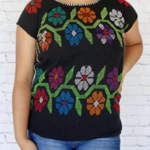 Black Floral Mexican Blouse
