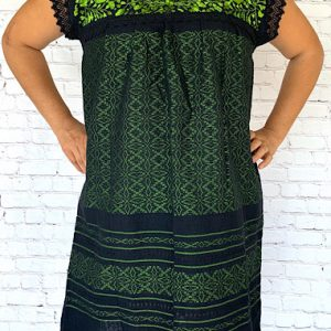 Green Embroidered Mexican Dress