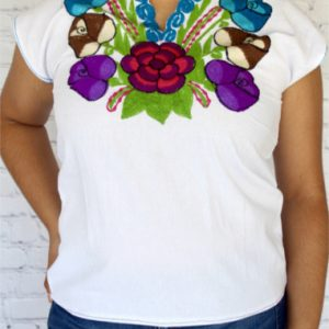 White Colorful Mexican Top