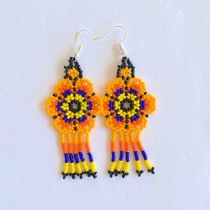 Orange Beaded Mexican Earrings