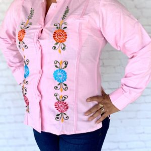 Embroidered Pink Mexican Shirt