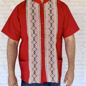 Red Mexican Guayabera Shirt