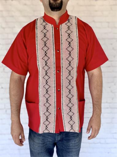 Red Mexican Guayabera Shirt