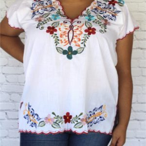 White Embroidered Mexican Blouse