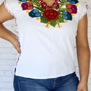 White Mexican Embroidered Blouse