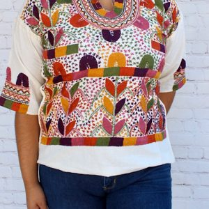 Floral Mexican Embroidered Blouse
