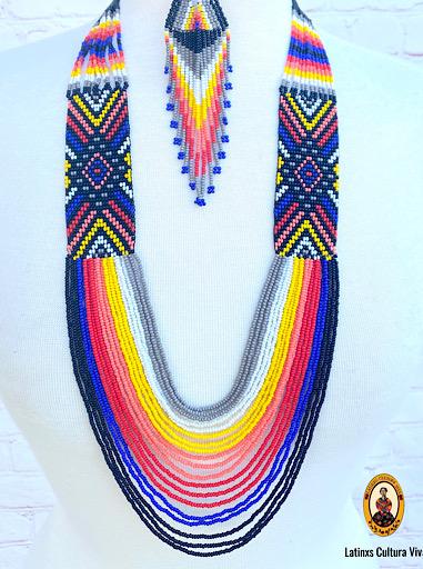 Blue Huichol Necklace