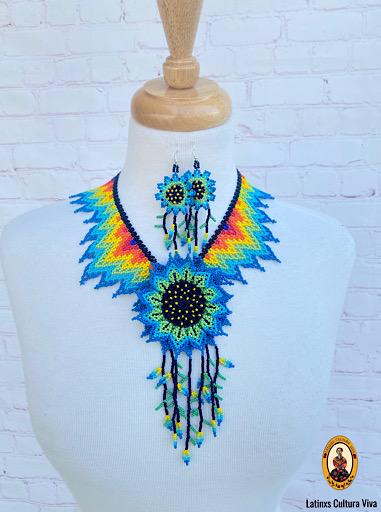 Blue Huichol Beaded Necklace