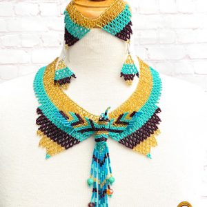 Bright Hummingbird Huichol Necklace Set