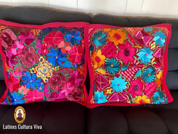 Red Mexican Embroidered Pillow Cases
