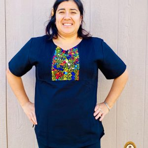 Mexican Black Embroidered Blouse