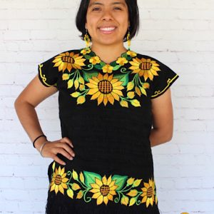 Black Sunflower Embroidered Blouse