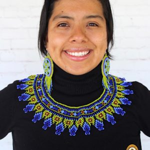 Blue Choker Mexican Beaded Necklace