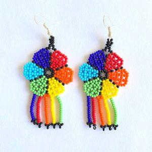 Colorful Huichol Beaded Earrings