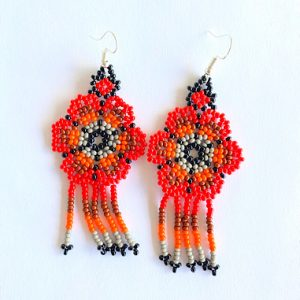 Colorful Red Huichol Earrings