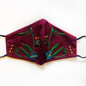 Floral Burgundy Face Mask
