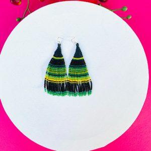 Green Mexican Beaded Earrings