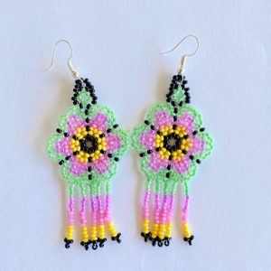 Green and Purple Mexican Beaded Earrings