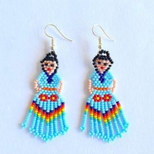 Light Blue Doll Beaded Earrings