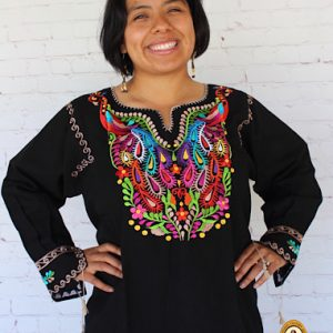 Mexican Peacock Embroidered Blouse