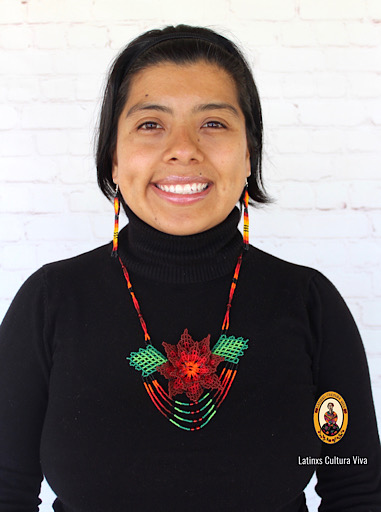 Burgundy Mexican Huichol Necklace