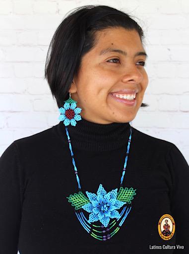 Light Blue Beaded Huichol Necklace