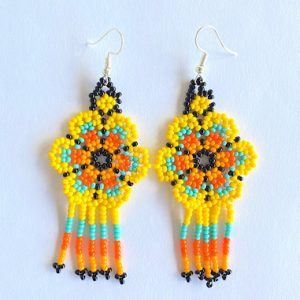 Yellow Huichol Earrings