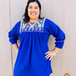 Blue Embroidered Mexican blouse