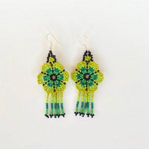 Green Huichol Beaded Earrings