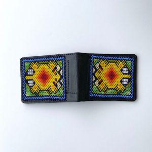 Yellow Beaded Men Leather Wallet