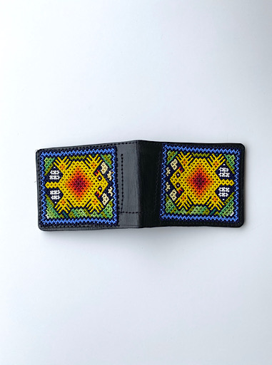 Yellow Beaded Men Leather Wallet