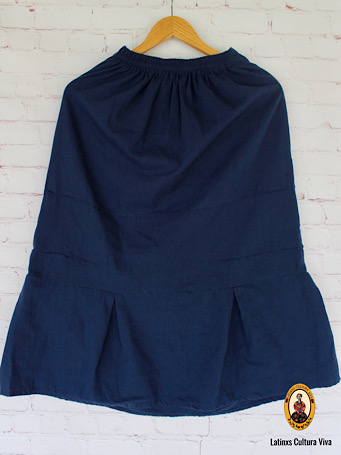Navy Blue Mexican Embroidered Skirt