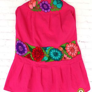 Pink Embroidered Mexican Skirt