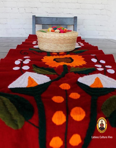 Red Embroidered Mexican Table Runner