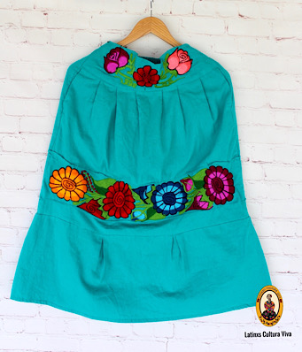 Turquoise Embroidered Mexican Skirt