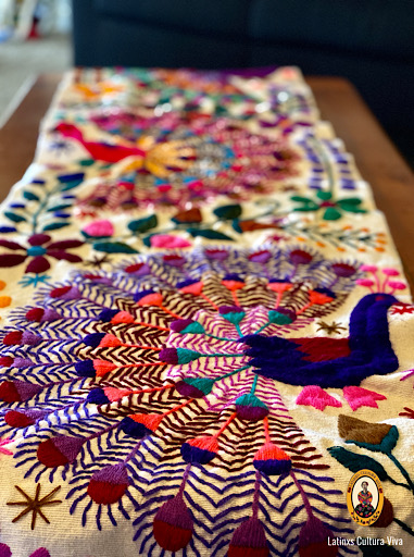 Colorful Embroidered Mexican Table Runner