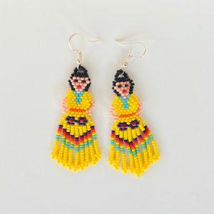 Yellow Beaded Doll Earrings