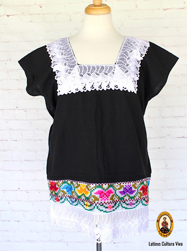 Black Hand Embroidered Mexican Blouse