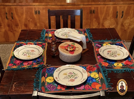 Green Embroidered Mexican Placemat