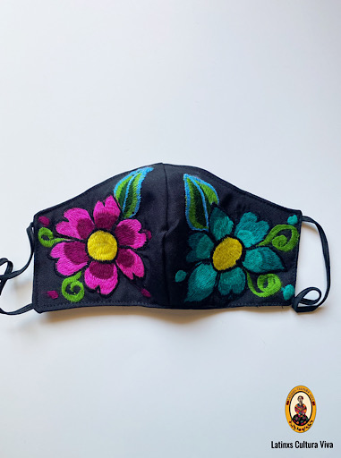 Turquoise and Pink Flowers Face Mask