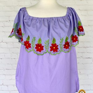 Off The Shoulder Purple Mexican Blouse