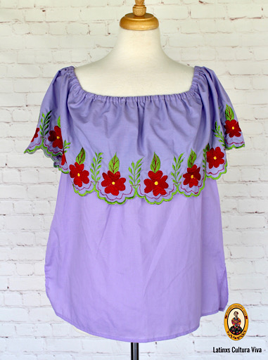 Purple Off The Shoulder Mexican Blouse